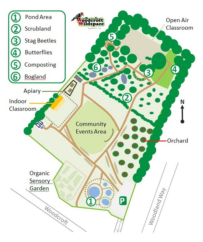 Graphic Site Map: Woodcroft Wildspace: Draft Site Plan